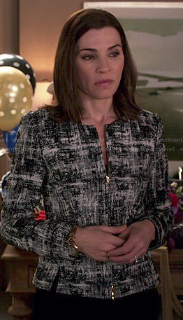 Alicia's black and white textured print jacket on The Good Wife