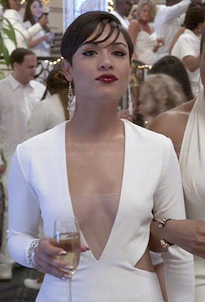 Anika's white plunge neck cutout dress on Empire