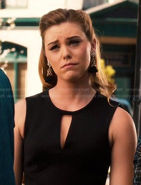 AnnaBeth's black keyhole dress and tassel earrings on Hart of Dixie