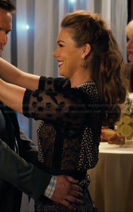 AnnaBeth's black mixed lace and print dress on Hart of Dixie