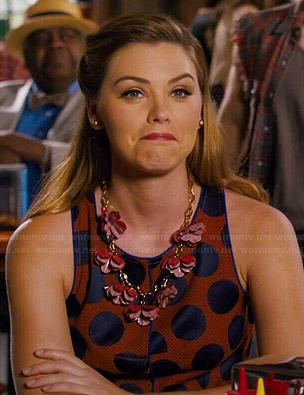 AnnaBeth's orange and blue polka dot dress on Hart of Dixie