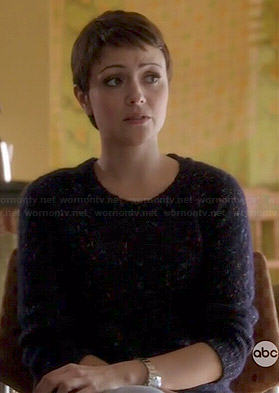 April's blue flecked sweater on Chasing Life