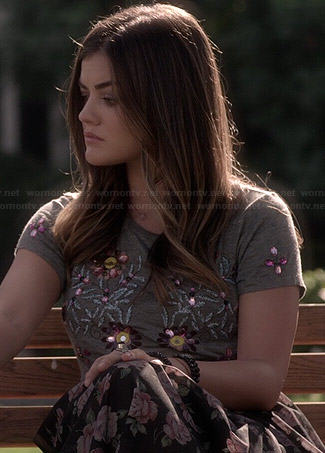 Aria's grey floral beaded top and rose print skirt on Pretty Little Liars