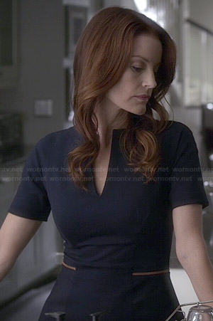 Ashley's navy peplum dress on Pretty Little Liars