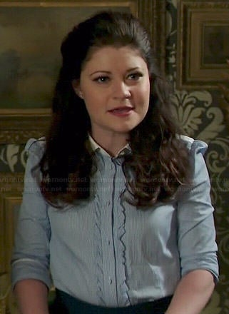 Belle's blue striped shirt with front ruffles on Once Upon a Time