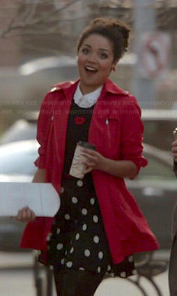 Beth's lips print sweater, polka dot skirt and red coat on Chasing Life