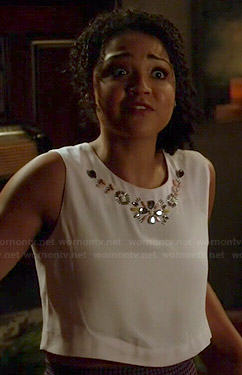 Beth's white embellished crop top on Chasing Life