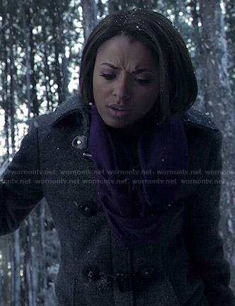 Bonnie's grey toggle coat on The Vampire Diaries