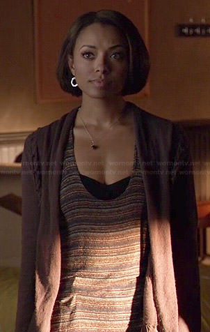 Bonnie's striped tank top and purple cable knit cardigan on The Vampire Diaries