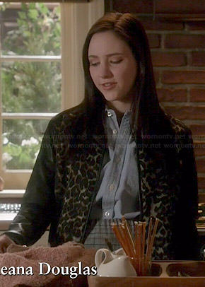 Brenna's leopard print jacket with leather sleeves on Chasing Life