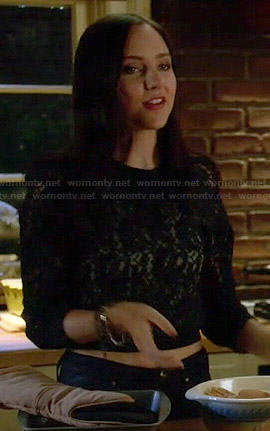 Brenna's black lace sweater on Chasing Life