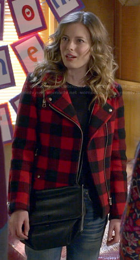 Britta's red buffalo checked moto coat on Community