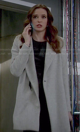 Caitlin's grey draped coat on The Flash