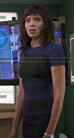 Camille's blue and black colorblock dress on Bones