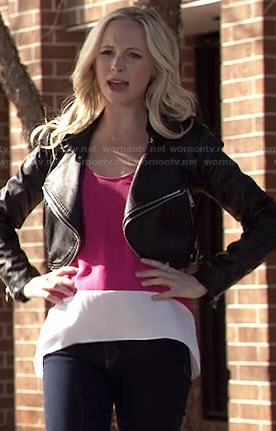 Caroline's pink colorblock top and cropped leather jacket on The Vampire Diaries