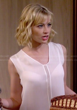 Caroline's white mesh insert top on 2 Broke Girls