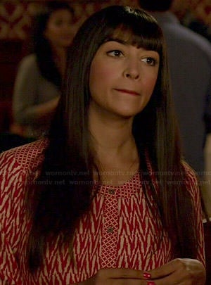 Cece's red and white zig zag print romper on New Girl