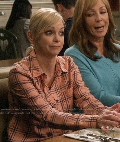 Jill's zebra print blouse on Mom