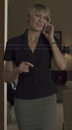 Claire's black short sleeve blazer on House of Cards