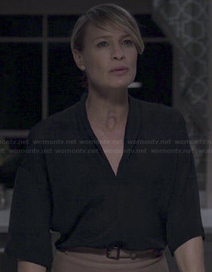 Claire's black v-neck boxy blouse on House of Cards