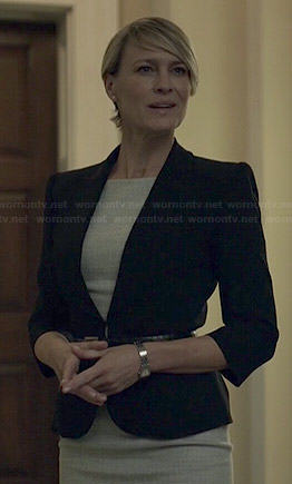 Claire's grey short sleeve dress and black belted blazer on House of Cards