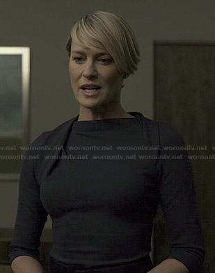 Claire's navy pleated neck dress on House of Cards
