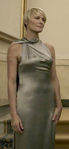 Claire's silver draped back gown on House of Cards