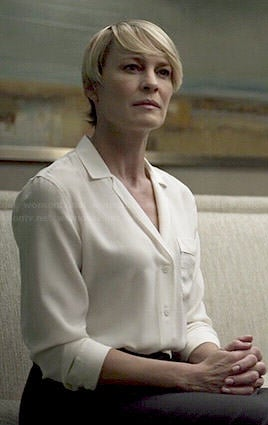 Claire's white button front blouse on House of Cards