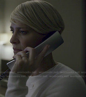 Claire's white sweater and cardigan set on House of Cards