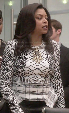 Cookie's black and white printed peplum sweater on Empire
