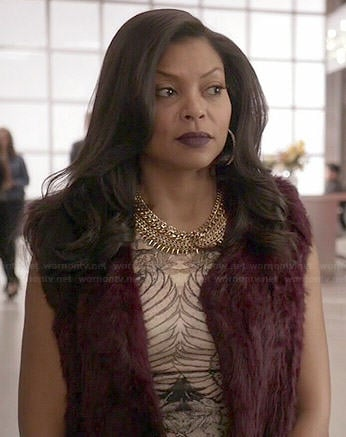 Cookie's printed dress and burgundy fur vest on Empire
