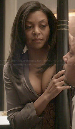Cookie's snake print lingerie and grey robe on Empire