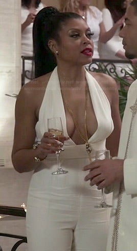 Cookie's white plunge neck jumpsuit on Empire