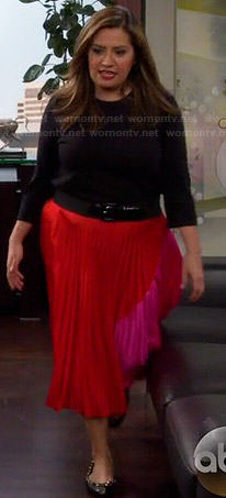 Cristela's red and pink colorblock pleated skirt on Cristela