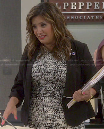 Cristela's black and white printed dress on Cristela