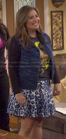 Cristela's blue tweed jacket and leopard print skirt on Cristela