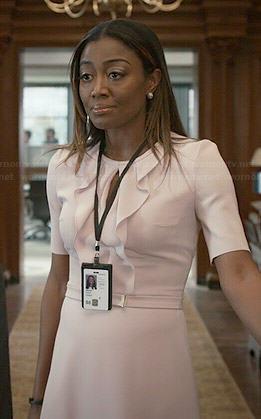 Daisy's pink ruffled front keyhole dress on Madam Secretary
