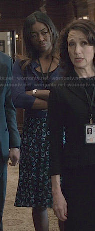 Daisy's blue printed skirt on Madam Secretary