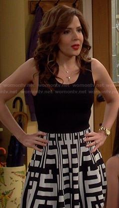 Daniela's black and white geometric printed dress on Cristela
