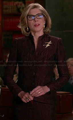 Diane's brown textured jacket and skirt on The Good Wife