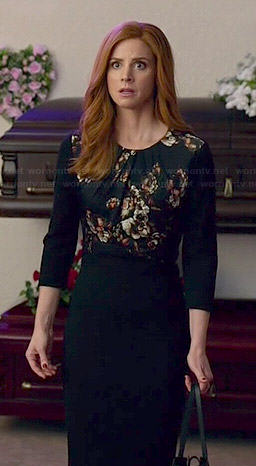 Donna's black floral panel dress on Suits