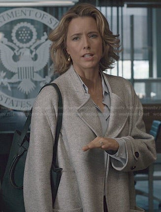 Elizabeth's grey coat on Madam Secretary