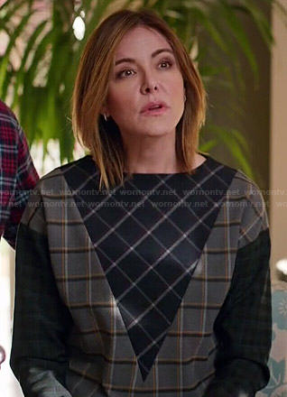 Ellie's mixed check pattern sweater on Cougar Town
