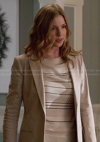 Emily's cream striped pointelle sweater on Revenge