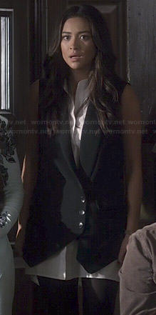 Emily's black and white waistcoat dress on Pretty Little Liars