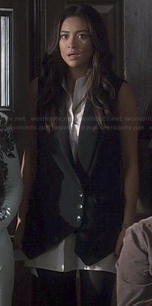 Emily's black and white waistcoat dress on Pretty Little Liars