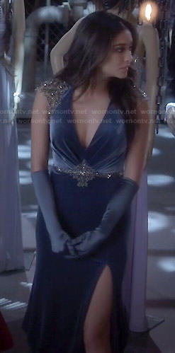 Emily's velvet prom dress on Pretty Little Liars