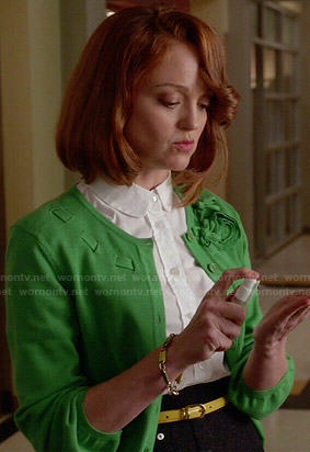 Emma's green ribbon and flower cardigan on Glee