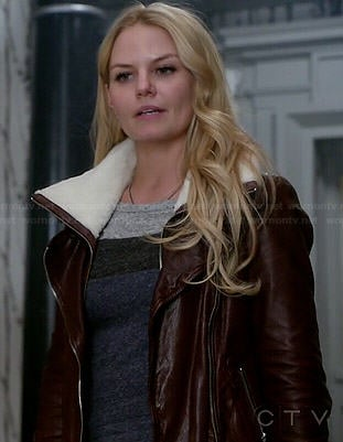 Emma's grey and blue colorblock top and burgundy leather jacket with white fleece on Once Upon a Time