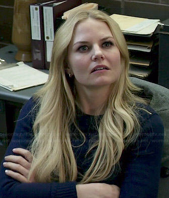 Emma's navy blue sweater with zip shoulders on Once Upon a Time